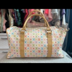 Y2K Vintage PLAYBOY Classic Rainbow Monogram Duffle Bag